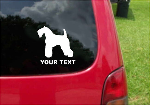 Kerry Blue Terrier  Dog Sticker Decal with custom text 20 Colors To Choose From.