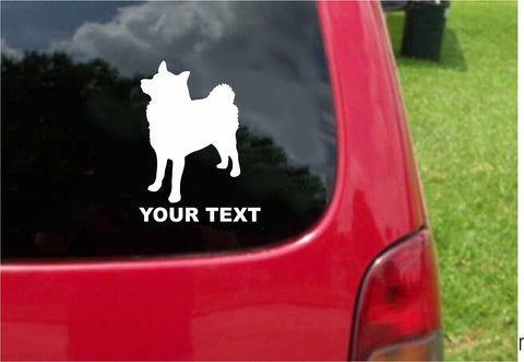 Norwegian Elkhound Dog Sticker Decal with custom text 20 Colors To Choose From.