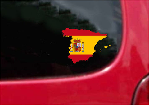 Spain  Outline Map Flag Vinyl Decal Sticker Full Color/Weather Proof.