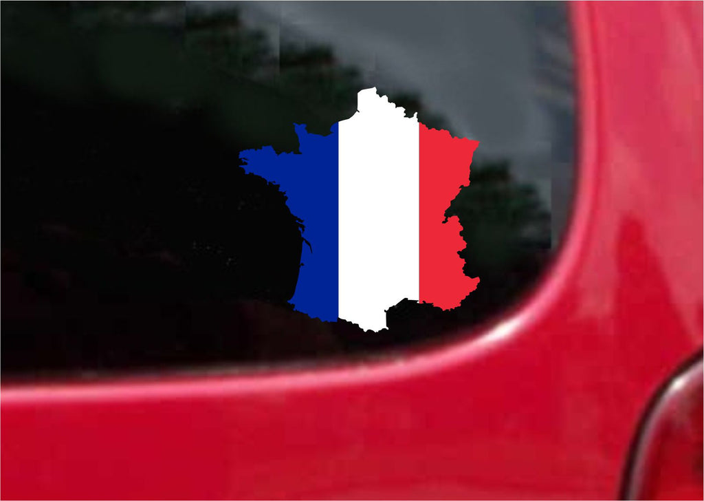 France  Outline Map Flag Vinyl Decal Sticker Full Color/Weather Proof.