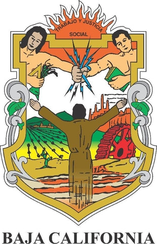 Baja California Mexico. Coat Of Arms Decal Sticker Full Color/Weather Proof.