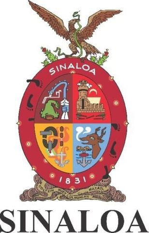 Sinaloa Mexico. Coat Of Arms Decal Sticker Full Color/Weather Proof.