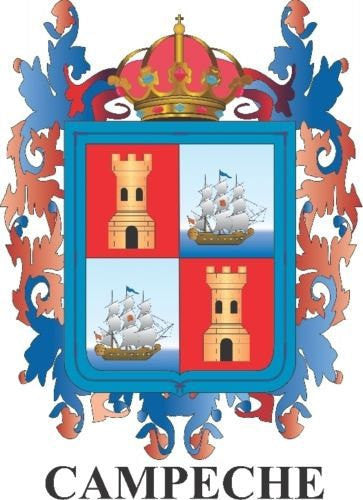 Campeche Mexico. Coat Of Arms Decal Sticker Full Color/Weather Proof.