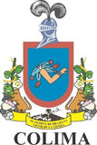 Colima Mexico. Coat Of Arms Decal Sticker Full Color/Weather Proof.