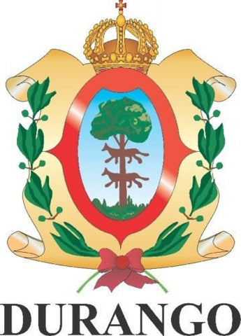 Durango Mexico. Coat Of Arms Decal Sticker Full Color/Weather Proof.