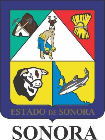 Sonora Mexico. Coat Of Arms Decal Sticker Full Color/Weather Proof.