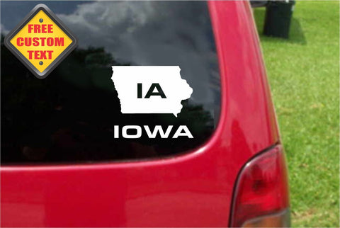 Iowa IA State USA Outline Map Sticker Decal 20 Colors To Choose From.
