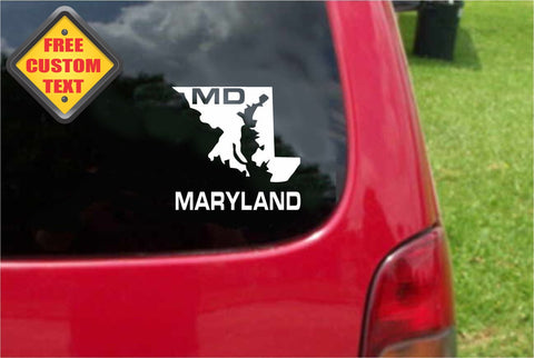 Maryland MD State USA Outline Map Sticker Decal 20 Colors To Choose From.