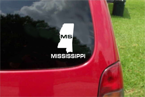 Mississippi MS State USA Outline Map Sticker Decal 20 Colors To Choose From.