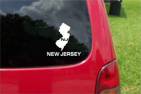 New Jersey NJ State USA Outline Map Sticker Decal 20 Colors To Choose From.