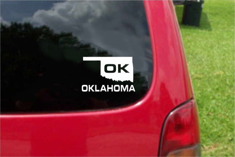 Oklahoma OK State USA Outline Map Sticker Decal 20 Colors To Choose From.