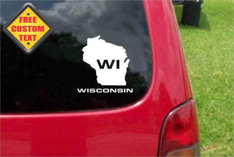 Wisconsin WI State USA Outline Map Sticker Decal 20 Colors To Choose From.
