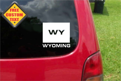 Wyoming WY State USA Outline Map Sticker Decal 20 Colors To Choose From.