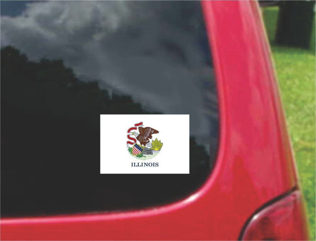 Illinois State Flag Vinyl Decal Sticker Full Color/Weather Proof.