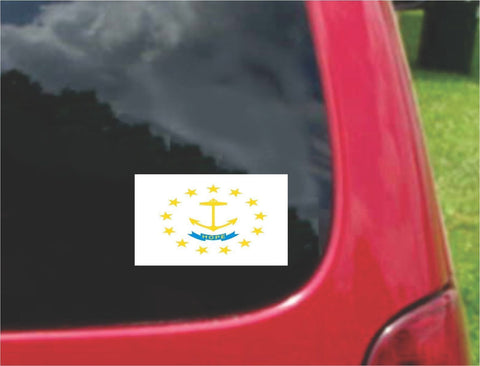 Rhode Island State Flag Vinyl Sticker Decal Full Color/Weather Proof.