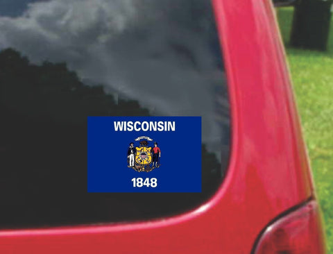Wisconsin State Flag Vinyl Sticker Decal Full Color/Weather Proof.