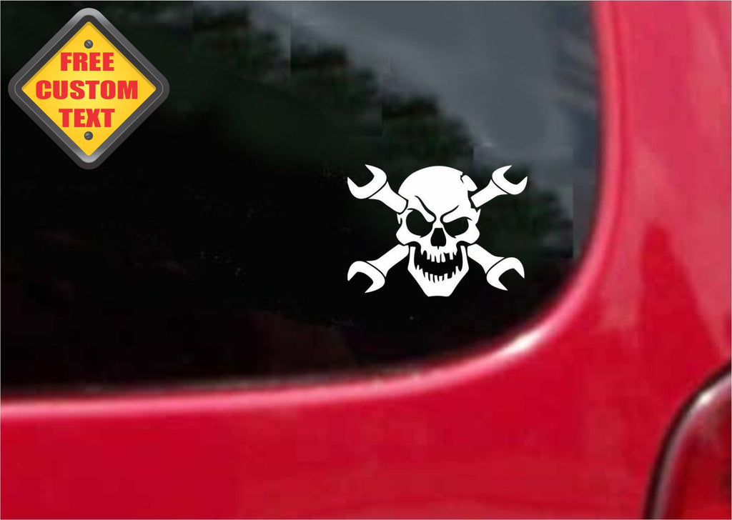 Wrenches Skull Mechanic Sticker Decal 20 Colors To Choose From.
