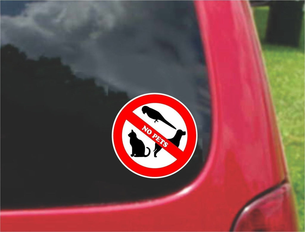 Set of No Pets Warning Sign Sticker Decals Full Color/Weather Proof.