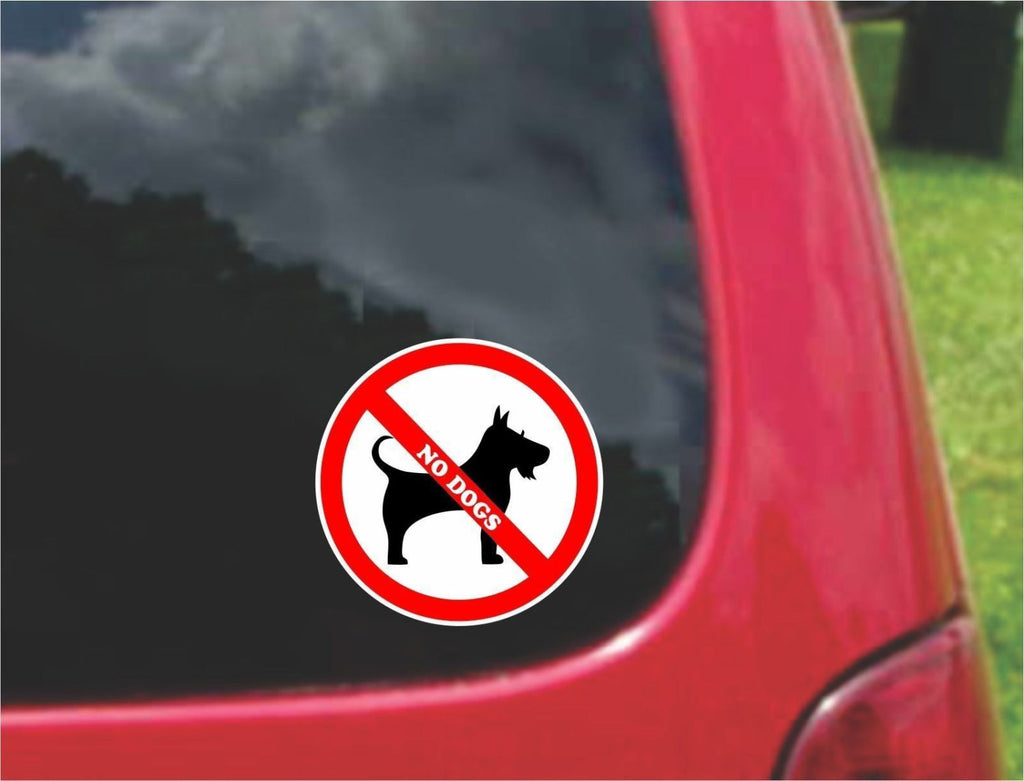 Set of No Dogs Warning Sign Sticker Decals Full Color/Weather Proof.