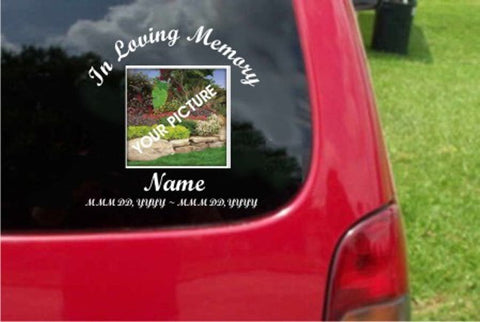 Custom In Loving Memory Decal Your Own Photography/Picture Sticker Decal 20 Colors To Choose From.