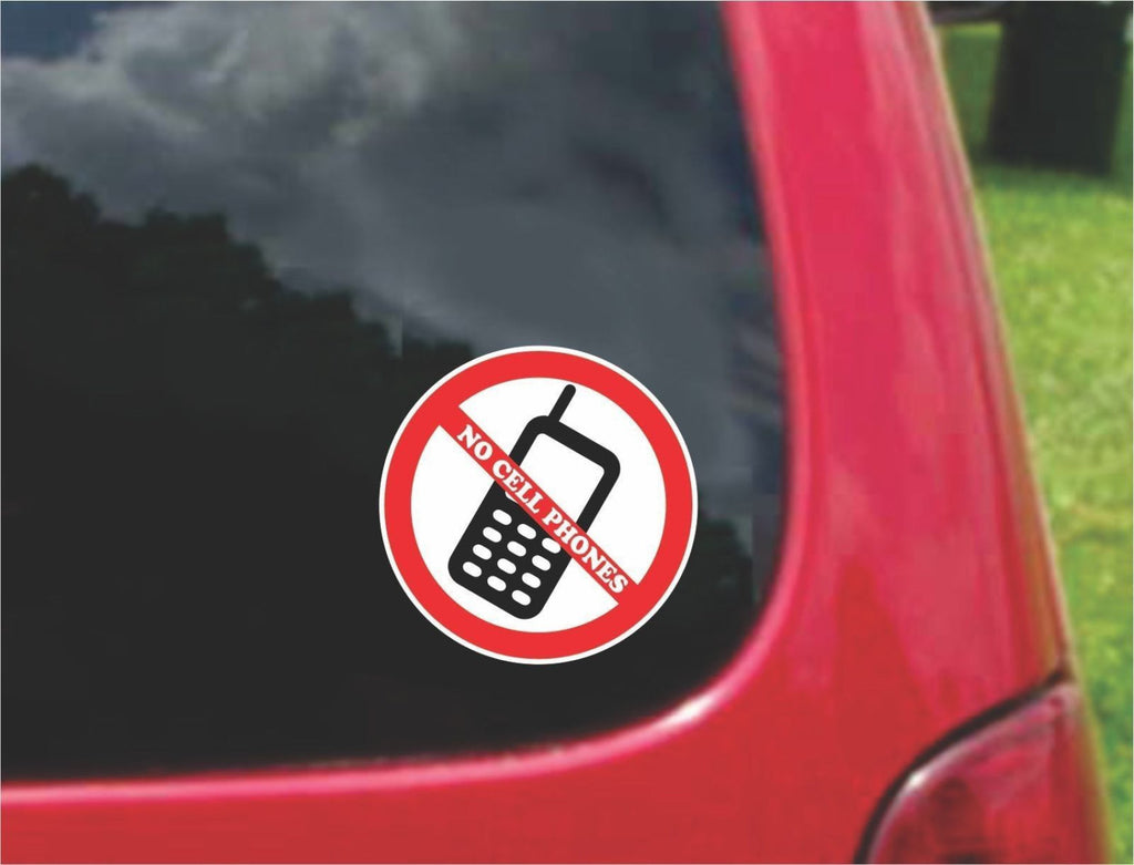 Set of No Cell Phone Warning Sign Sticker Decals Full Color/Weather Proof.