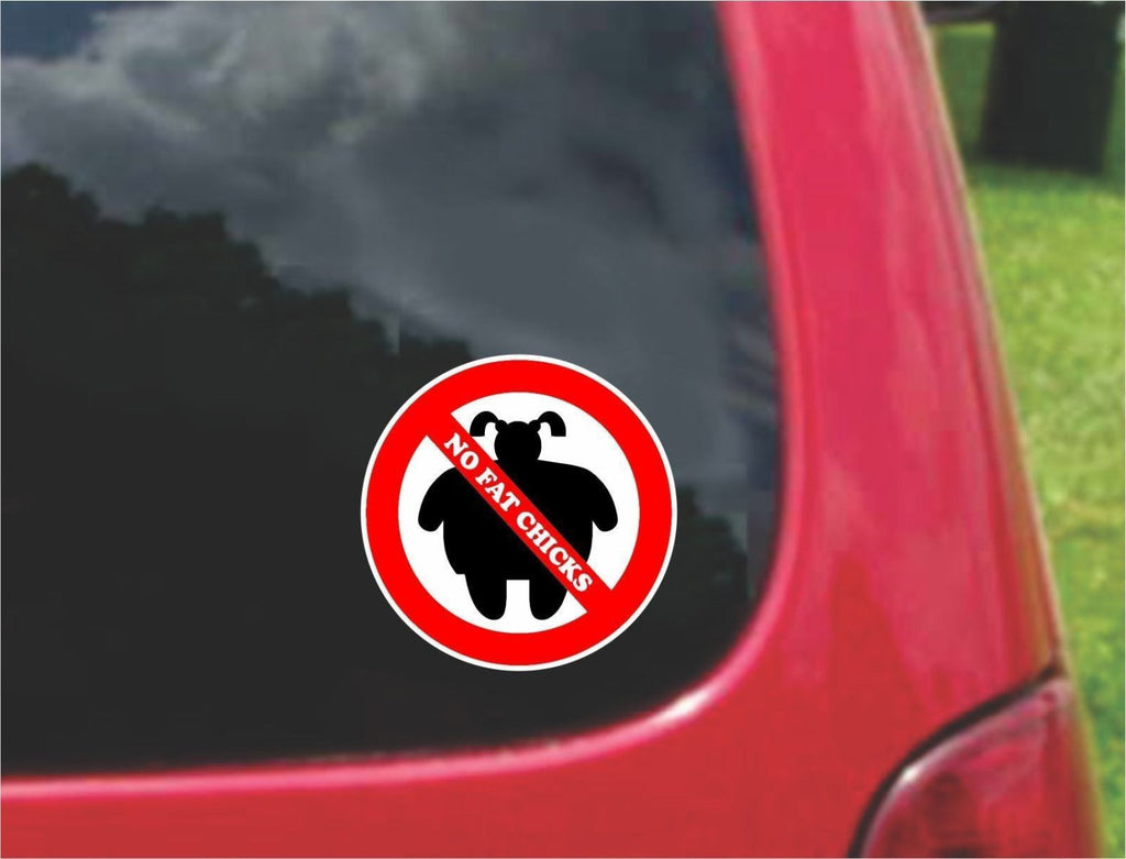 Set of NO FAT CHICKS Warning Sign Sticker Decals Full Color/Weather Proof.