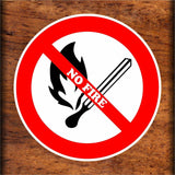 Set of NO FIRE Warning Sign Sticker Decals Full Color/Weather Proof.