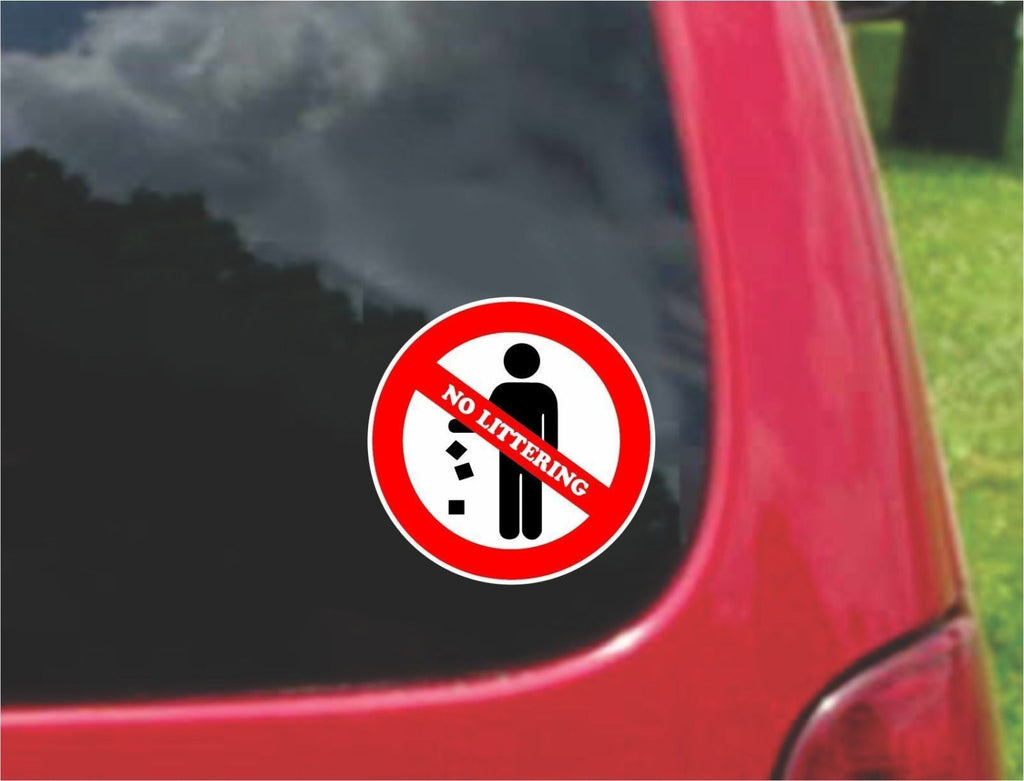 Set of No Littering Warning Sign Sticker Decals Full Color/Weather Proof.
