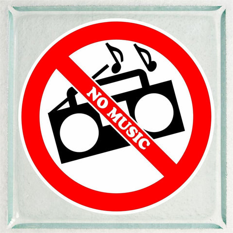 Set of NO MUSIC Warning Sign Sticker Decals Full Color/Weather Proof.