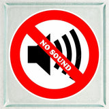 Set of No Sound Warning Sign Sticker Decals Full Color/Weather Proof.