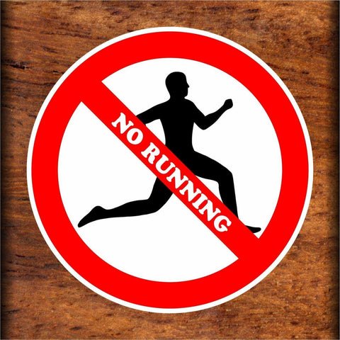 Set of No Running Warning Sign Sticker Decals Full Color/Weather Proof.