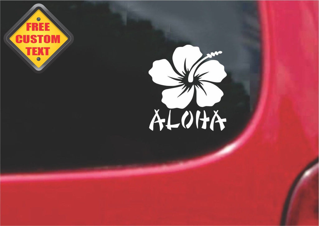 Hibiscus Aloha Hawaii Sticker Decal 20 Colors To Choose From.