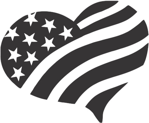 American Heart Patriotic USA Flag Sticker Decal 20 Colors To Choose From.