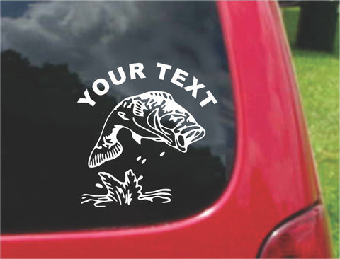 Fishing Bass Sticker Decal with custom text 20 Colors To Choose From.