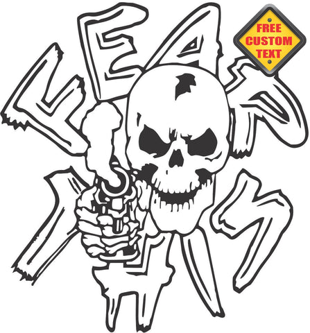 Fear This Skull Sticker Decal 20 Colors To Choose From.