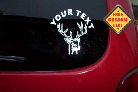 Deer Head Hunting Sticker Decal with custom text 20 Colors To Choose From.