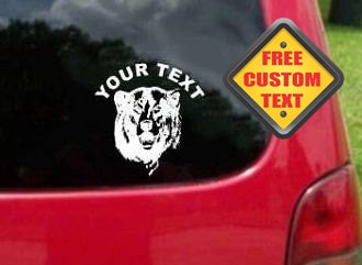 Bear Head Sticker Decal with custom text 20 Colors To Choose From.
