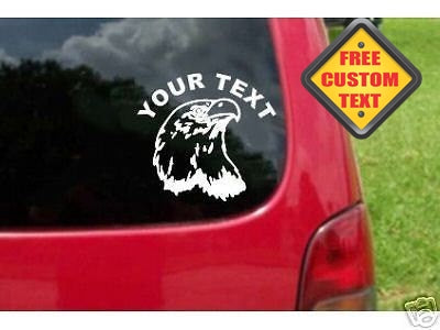 Eagle Head Sticker Decal with custom text 20 Colors To Choose From.