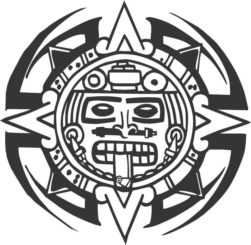 Tribal Aztec Calendar Sticker Decal 20 Colors To Choose From.