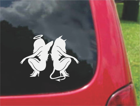 Angel and Devil Sitting Sticker Decal 20 Colors To Choose From.