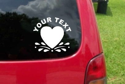 Heart Romantic Sticker Decal with custom text 20 Colors To Choose From.