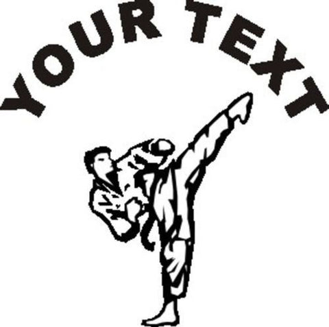 Martial Arts Sticker Decal with custom text 20 Colors To Choose From.