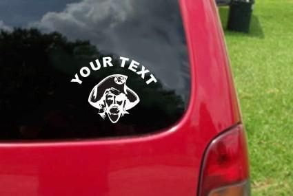 Pirate Sticker Decal with custom text 20 Colors To Choose From.