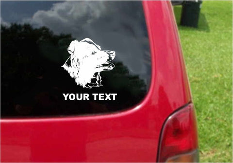 Australian Shepherd Dog Sticker Decal with custom text 20 Colors To Choose From.