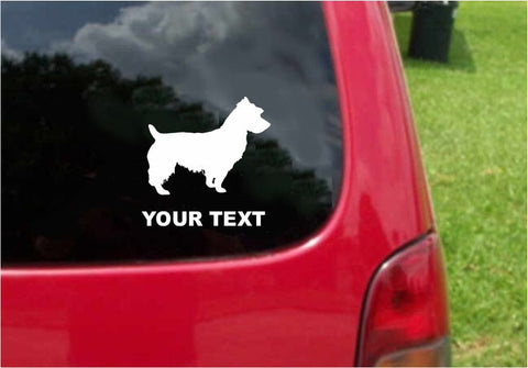 Australian Terrier Dog Sticker Decal with custom text 20 Colors To Choose From.