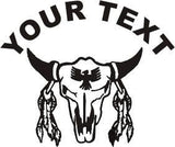 Bull Skull Sticker Decal with custom text 20 Colors To Choose From.