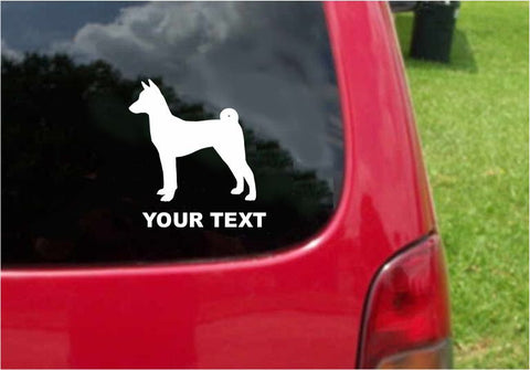 Basenji Dog Sticker Decal with custom text 20 Colors To Choose From.