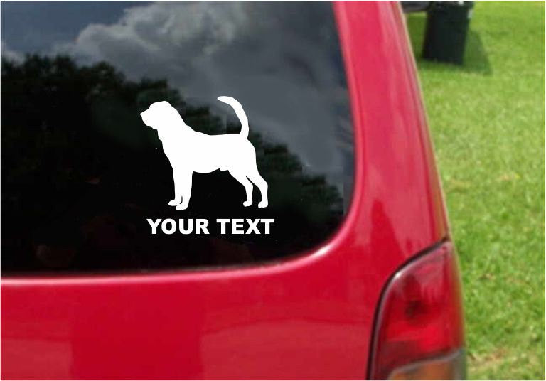 Bloodhound Dog Sticker Decal with custom text 20 Colors To Choose From.