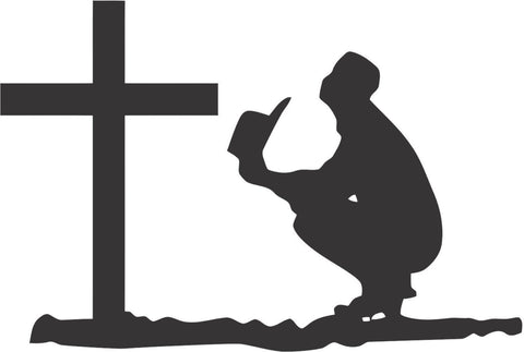 Cowboy Praying Sticker Decal 20 Colors To Choose From.