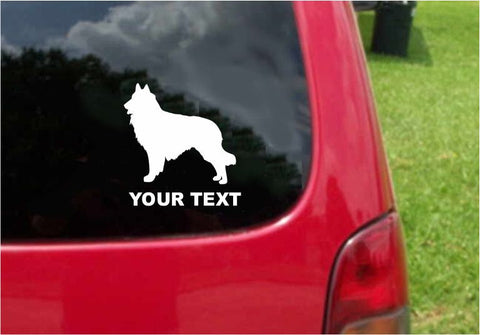 Belgian Sheepdog Dog Sticker Decal with custom text 20 Colors To Choose From.